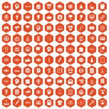 100 creative marketing icons hexagon orange. 100 creative marketing icons set in orange hexagon isolated vector illustration Stock Photography