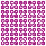 100 creative marketing icons hexagon violet. 100 creative marketing icons set in violet hexagon isolated vector illustration Stock Photos