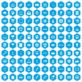 100 creative marketing icons set blue. 100 creative marketing icons set in blue hexagon isolated vector illustration Royalty Free Illustration