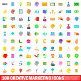 100 creative marketing icons set, cartoon style Royalty Free Stock Image