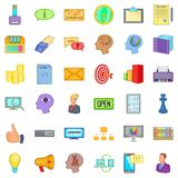 Creative marketing icons set, cartoon style Royalty Free Stock Images