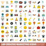 100 creative marketing icons set, flat style Royalty Free Stock Image