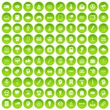 100 creative marketing icons set green circle. Isolated on white background vector illustration Royalty Free Stock Photos