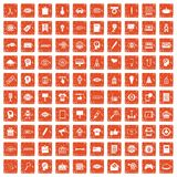 100 creative marketing icons set grunge orange. 100 creative marketing icons set in grunge style orange color isolated on white background vector illustration Stock Photo