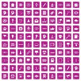 100 creative marketing icons set grunge pink. 100 creative marketing icons set in grunge style pink color isolated on white background vector illustration vector illustration