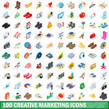 100 creative marketing icons set, isometric style Royalty Free Stock Photography