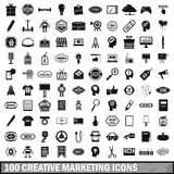 100 creative marketing icons set, simple style Royalty Free Stock Photos