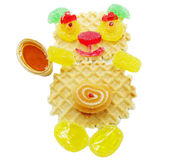 Creative marmalade fruit jelly sweet food bear form Stock Images
