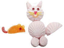 Creative marmalade fruit jelly sweet food cat form Royalty Free Stock Image