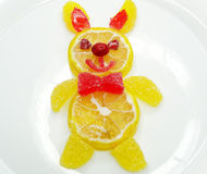Creative marmalade fruit jelly sweet food hare form Stock Photos
