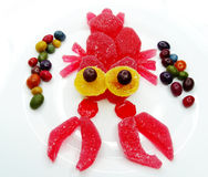 Creative marmalade fruit jelly sweet food lobster form Stock Photography