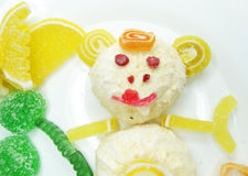 Creative marmalade fruit jelly sweet food monkey form Stock Image