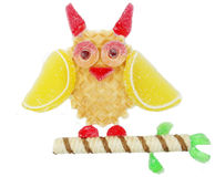 Creative marmalade fruit jelly sweet food owl bird form Royalty Free Stock Images
