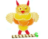 Creative marmalade fruit jelly sweet food owl form Stock Images