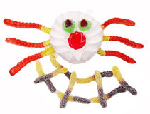 Creative marmalade fruit jelly sweet food spider form Stock Photo