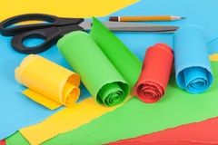 Creative material from color paper Stock Photos