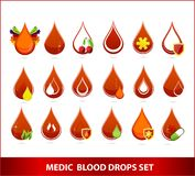 Creative medic blood drops symbols set Stock Photo