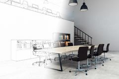 Creative meeting room sketch. Creative meeting room interior sketch. Architecture, design and engineering concept. 3D Rendering Stock Photography