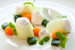 Creative melon variety dessert. Stock Photography
