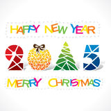 Creative merry Christmas background. Creative happy new year 2015 or merry Christmas tree greeting design with triangle royalty free illustration