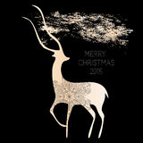 Creative merry christmas 2016 design. The composition of the deer and snowflake.Gold on black Vector illustration Stock Photo