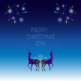 Creative merry christmas 2016 design. The composition of the deer and snowflake.Gold on black Vector illustration Stock Photos