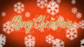 Creative Merry Christmas message on red background, congratulation, greeting. Stock footage stock video