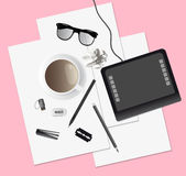Creative mess on the table, top view. Cup desk Royalty Free Stock Images