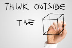 Creative message urging to think outside the box Stock Photo