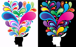 Creative mind concept. Concept illustration of a creative mind. The vibrant colors depict the versatility and the beauty of thoughts Stock Photos