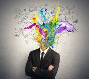 Creative mind. Concept of creative mind with colorful effect royalty free stock photos