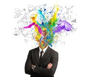 Creative mind. Concept of creative mind with colorful effect stock images