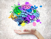 Creative mind concept. Hand holding colorful brain sketch on concrete background. Creative mind concept stock photos