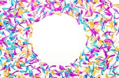 Creative minimal flower background. Colorful flowers frame on wh Stock Image