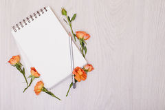Creative mock up with a card and orang rose. Empty sheet of pape Stock Photo