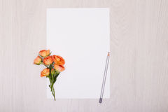 Creative mock up with a card and orang rose. Empty sheet of paper. Stock Images