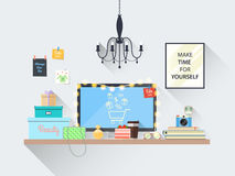 Creative modern blogger workpplace with online shopping. Modern vector illustration of blogger workplace with online shopping on monitor screen in room. Creative Stock Image