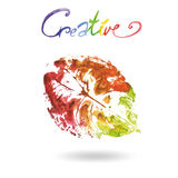 Creative modern eco tree leaf logo painted in watercolor.  Stock Photography