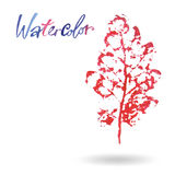 Creative modern eco tree leaf logo painted in watercolor.  Royalty Free Stock Photos