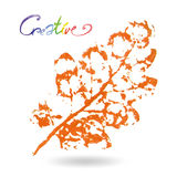 Creative modern eco tree leaf logo painted in watercolor.  Stock Photos