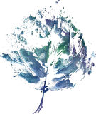 Creative modern eco tree leaf logo painted in watercolor Stock Photos