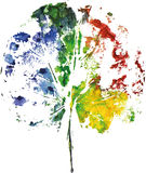 Creative modern eco tree leaf logo painted in watercolor. Vector Royalty Free Stock Photo