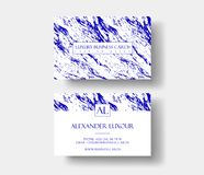 Creative modern fashioner business card, with abstract blue marble texture. royalty free illustration