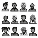Creative modern icons avatars with people. Creative modern icons avatars with men and women persons. Black and white version.Vector illustration royalty free illustration