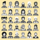 Creative modern icons avatars with people. Creative modern icons avatars with men and women persons. Black and white version.Vector  illustration Royalty Free Stock Photo