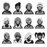 Creative modern icons avatars with woman persons. Black and white version. Vector illustration stock illustration