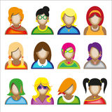 Creative modern icons avatars with woman persons. Vector illustration stock illustration