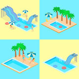 Creative modern isometric design of swimming pool Stock Photo