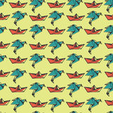 Creative modern pattern. With Japanese origami object. Suitable for wrapping paper royalty free illustration