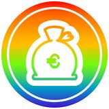 A creative money sack circular in rainbow spectrum. An original creative money sack circular in rainbow spectrum royalty free illustration